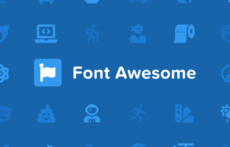 FontAwesome logo and some of the icons in blue colors