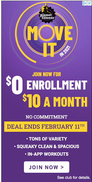 planet fitness successful banner advertising example