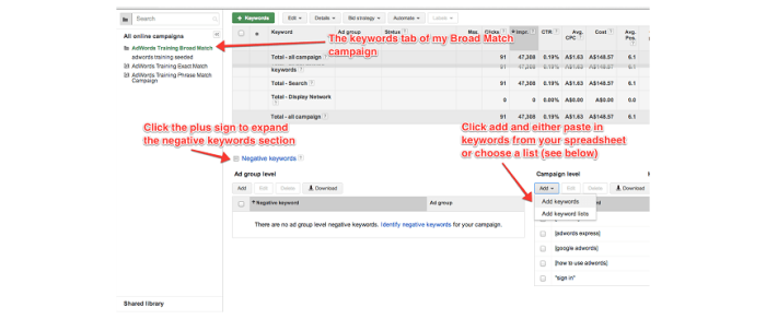 how to edit ppc ads negative keywords