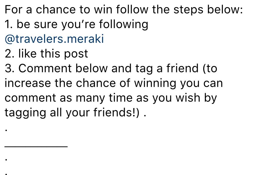 instagram contest ideas - gain an extra entry example