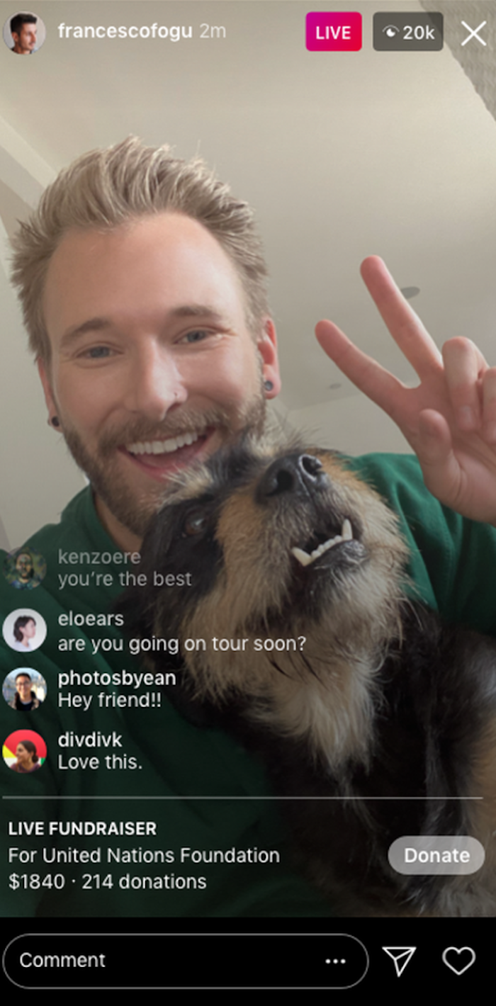 Instagram Live Rooms - thanking donors