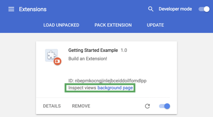 example of chrome extension builder interface