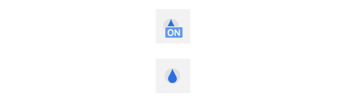 an icon showing on funtionality and a water drop below it