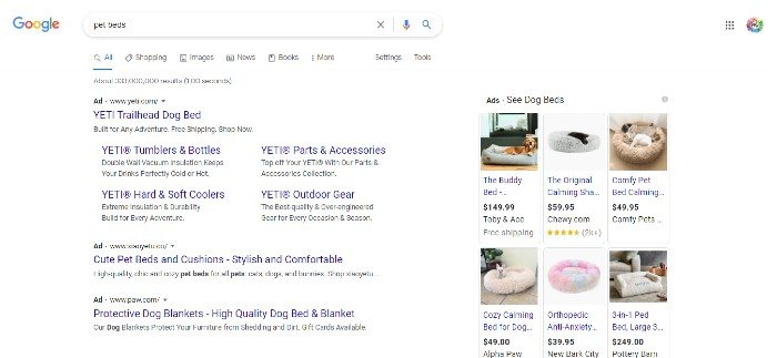 Pet owners Google search ad results