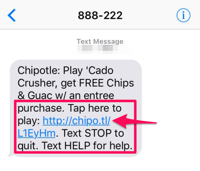 sms marketing example from Chipotle