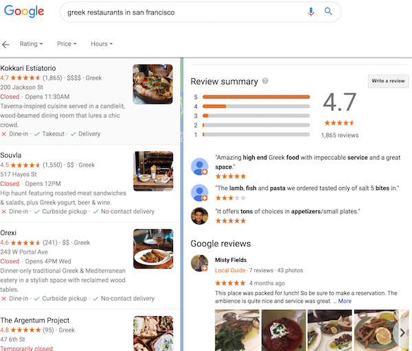 Looking For Google Review Summaries