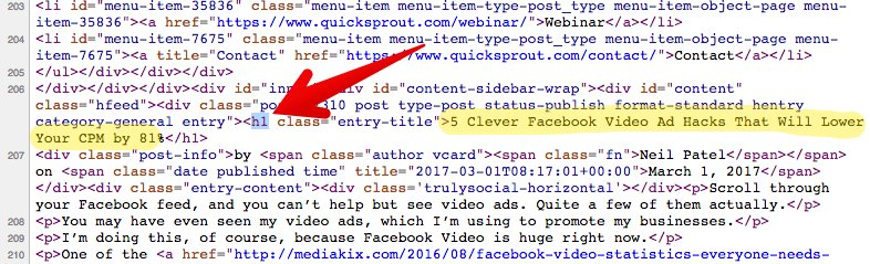 """H1 tag - """"facebook video hacks"""" in source code and title"""