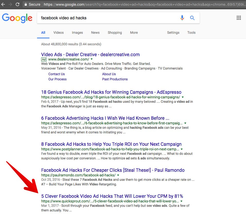 H1 tag - example of earning great place in SERPs through long tail keywords