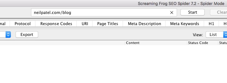 h1 tag - h1 audit with screaming frog, type in URL