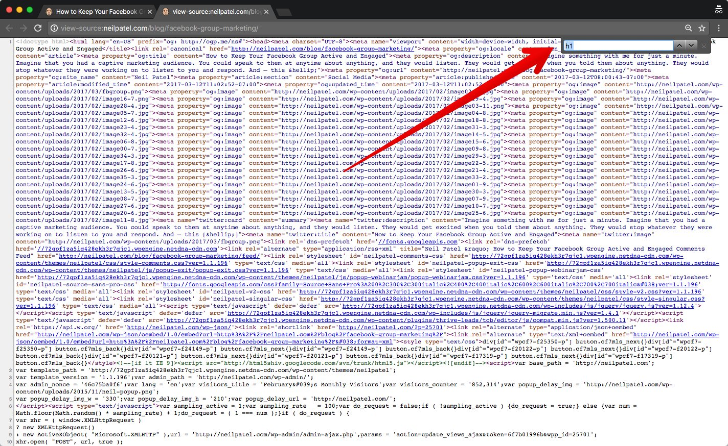 H1 tag - entering it into search box in source code