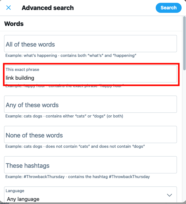 find old tweets by using advanced search - screenshot