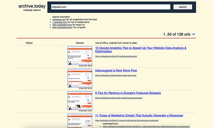 Web Cache Viewer Tools - Archive Today Example