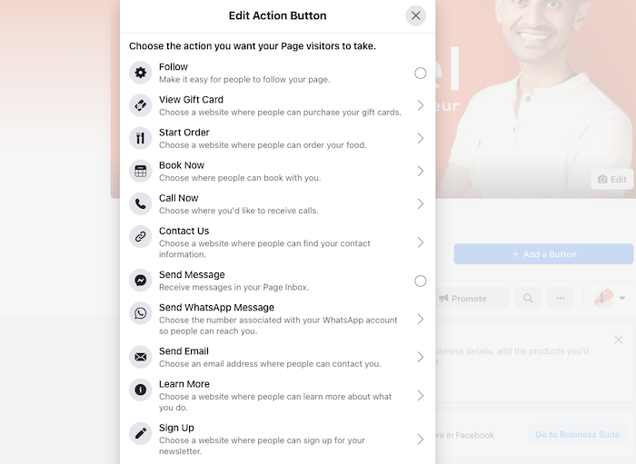 How to Create a Facebook Business Page - Choose CTA Button