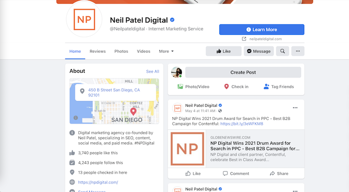 create a facebook business page - neil patel business page example