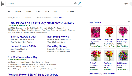 microsoft adcenter - from you flowers grid ad