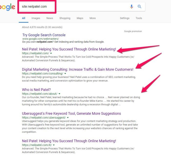 technical seo audit - root domain search