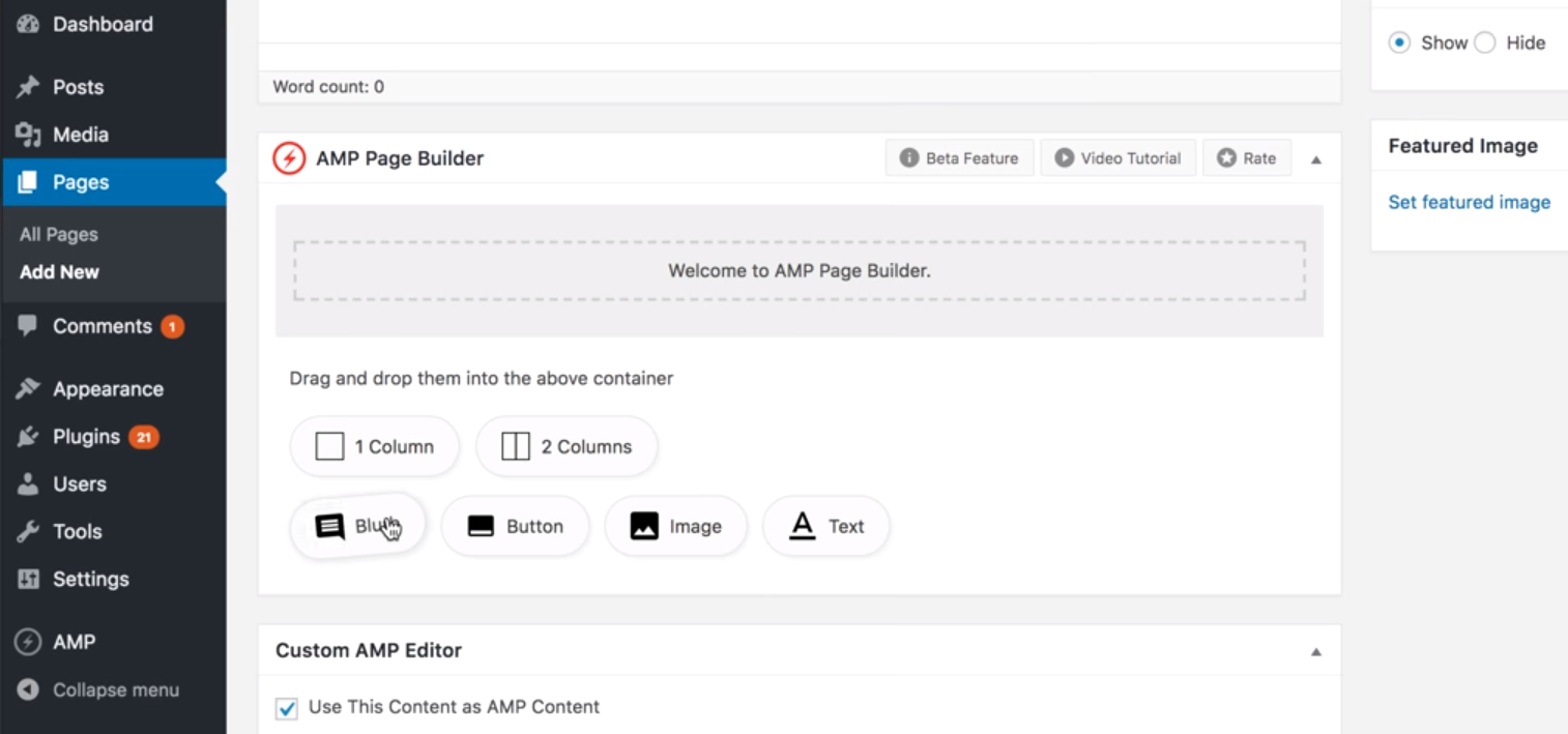 page speed insights AMP builder page