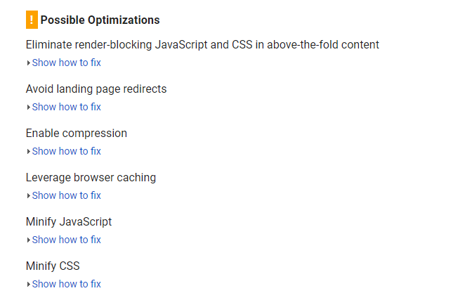 page speed insight optimizations