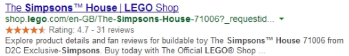 lego uses extensions to include customer reviews in google listing