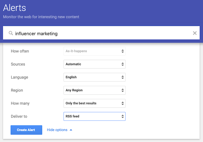 How to Set Up Google Alerts - Decide which sources you want to track
