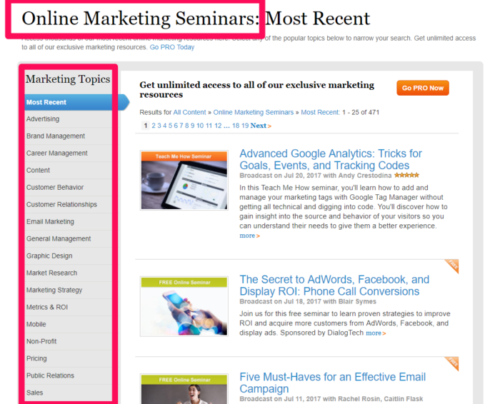 Types of Content on Marketing Profs Website - personal branding example strategy