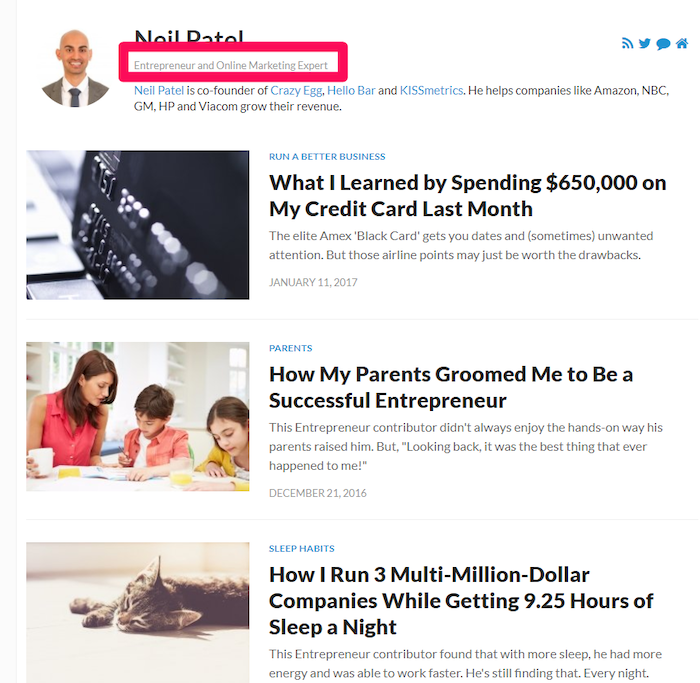Short About Section for Neil Patel - guest blogging example strategy of personal branding