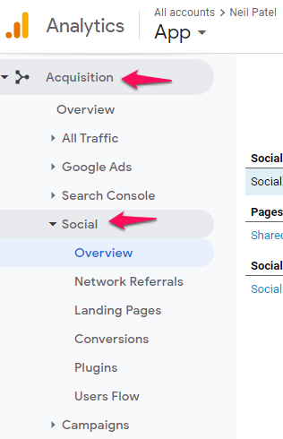social shares google analytics screenshot for content strategy guide
