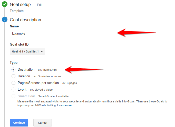 How to make a Goal Destination for Google Analytics for your content strategy.