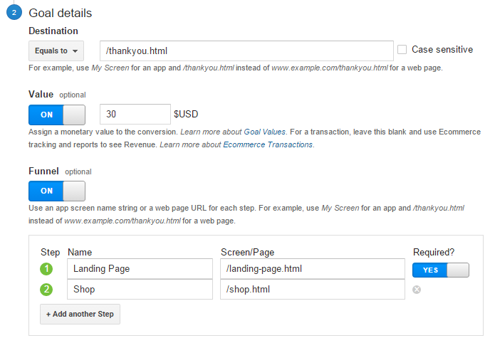 Goal Details for Google Analytics to use in your content strategy.