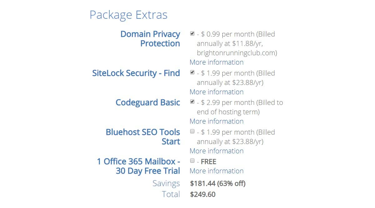 Bluehost Extras