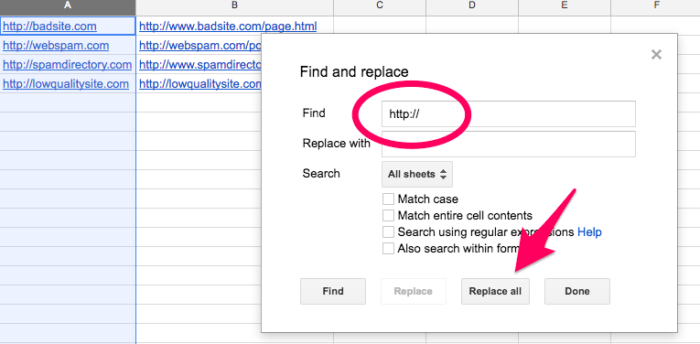 step 2 to create a list of backlinks with ubersuggest for future use of disavow tool