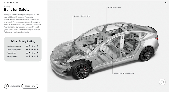 Examples of Product Feature Highlights - Tesla