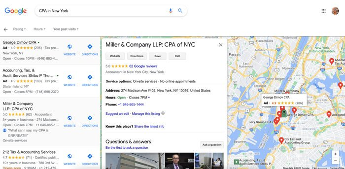 Marketing Tips for Accountants CPAs - Claim Your Google Business Page (an example)