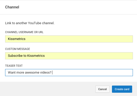 add youtube cards example to drive youtube subscribers