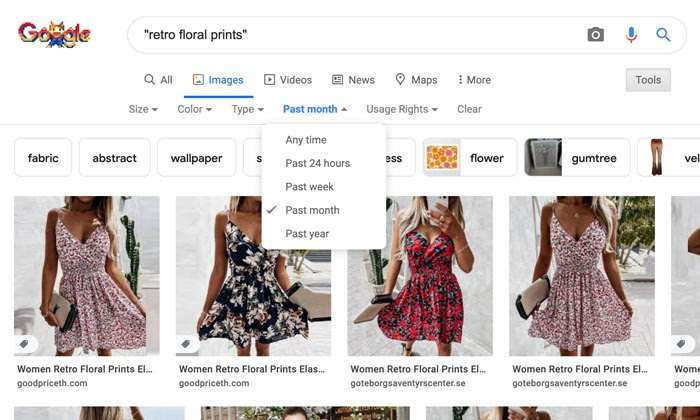 timelines filter on Google advanced image search