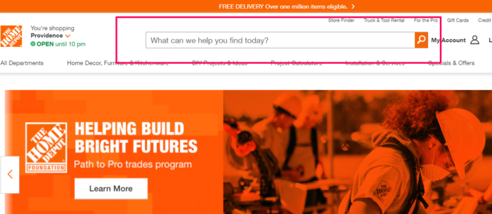 internal site search example from home depot