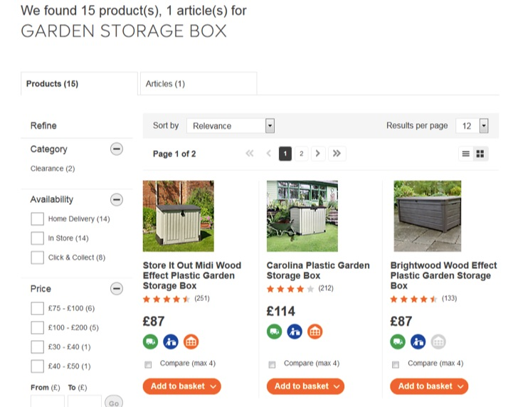 diy internal site search page example