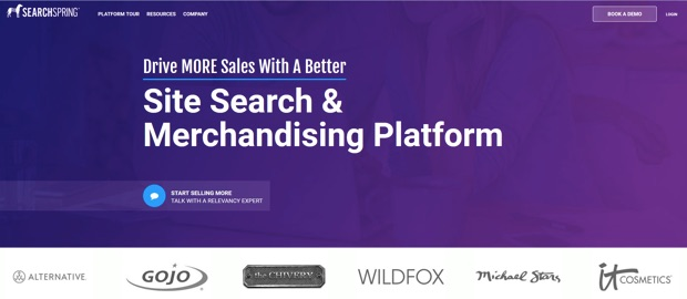 searchspring home page internal site search tool