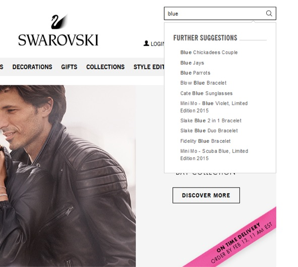 swarovski internal site search example with suggestions