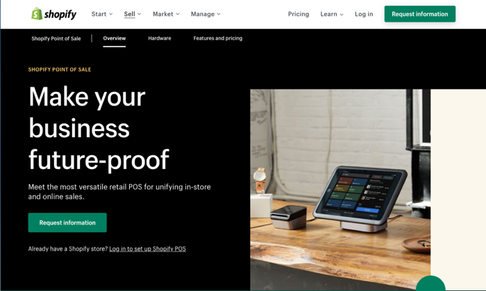 Shopify point of sale page for Best POS Systems