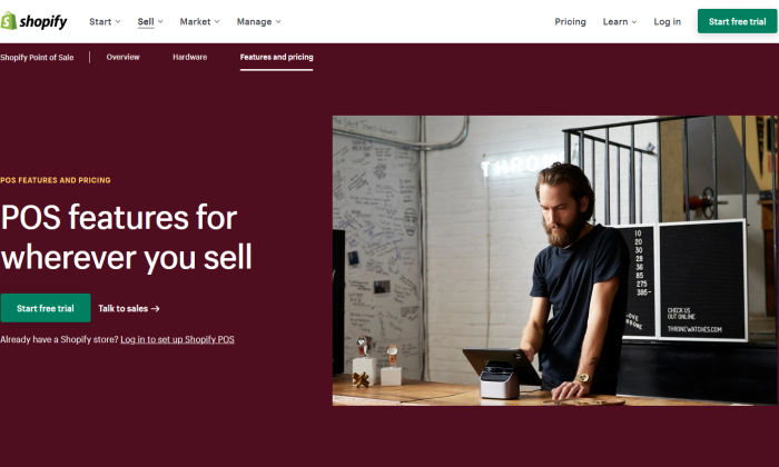 Shopify point of sale features page for Best POS Systems