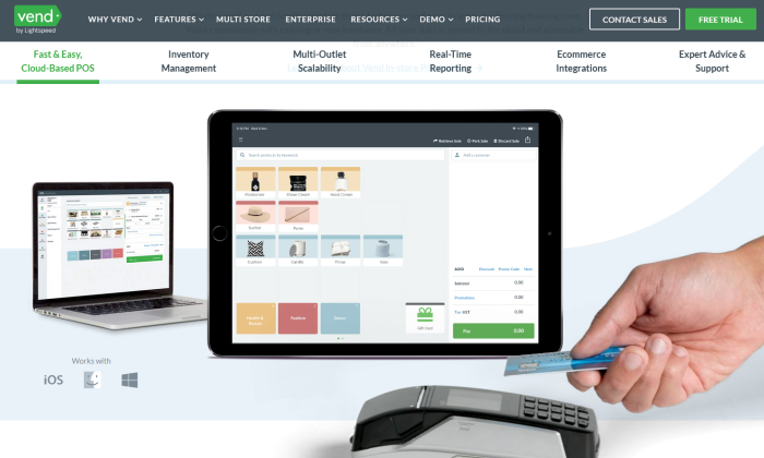 Vend point of sale main splash page for Best POS Systems