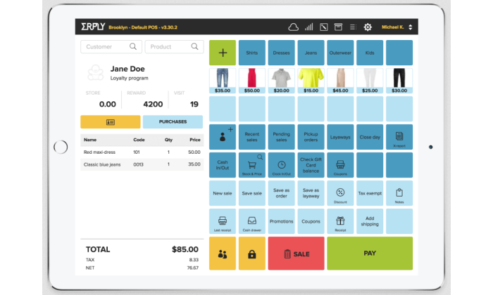 Erply tablet interface for Best POS Systems