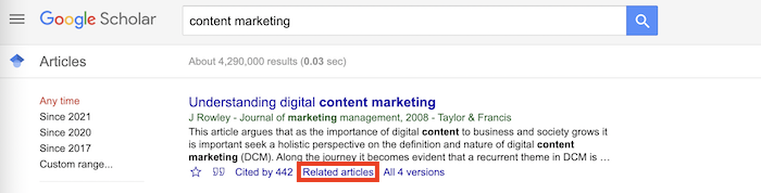 How to Use Google Scholar to Find Content Ideas - related articles button