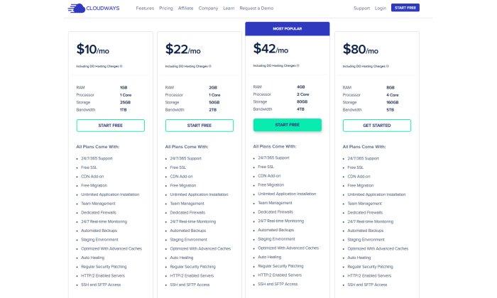 Cloudways pricing for Best WordPress Web Hosting