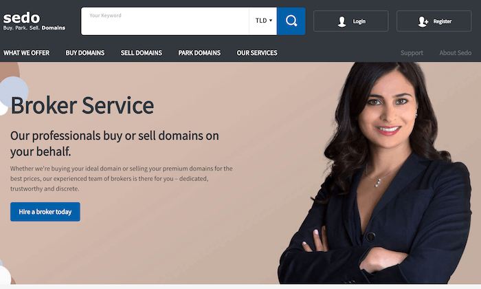 Sedo main page for How to Buy a Domain Name