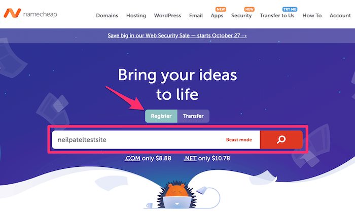 Namecheap main page for How to Buy a Domain Name