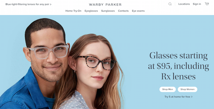 Examples of D2C Brands - Warby Parker